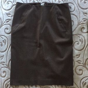 Theory Brown Wool Pencil Skirt